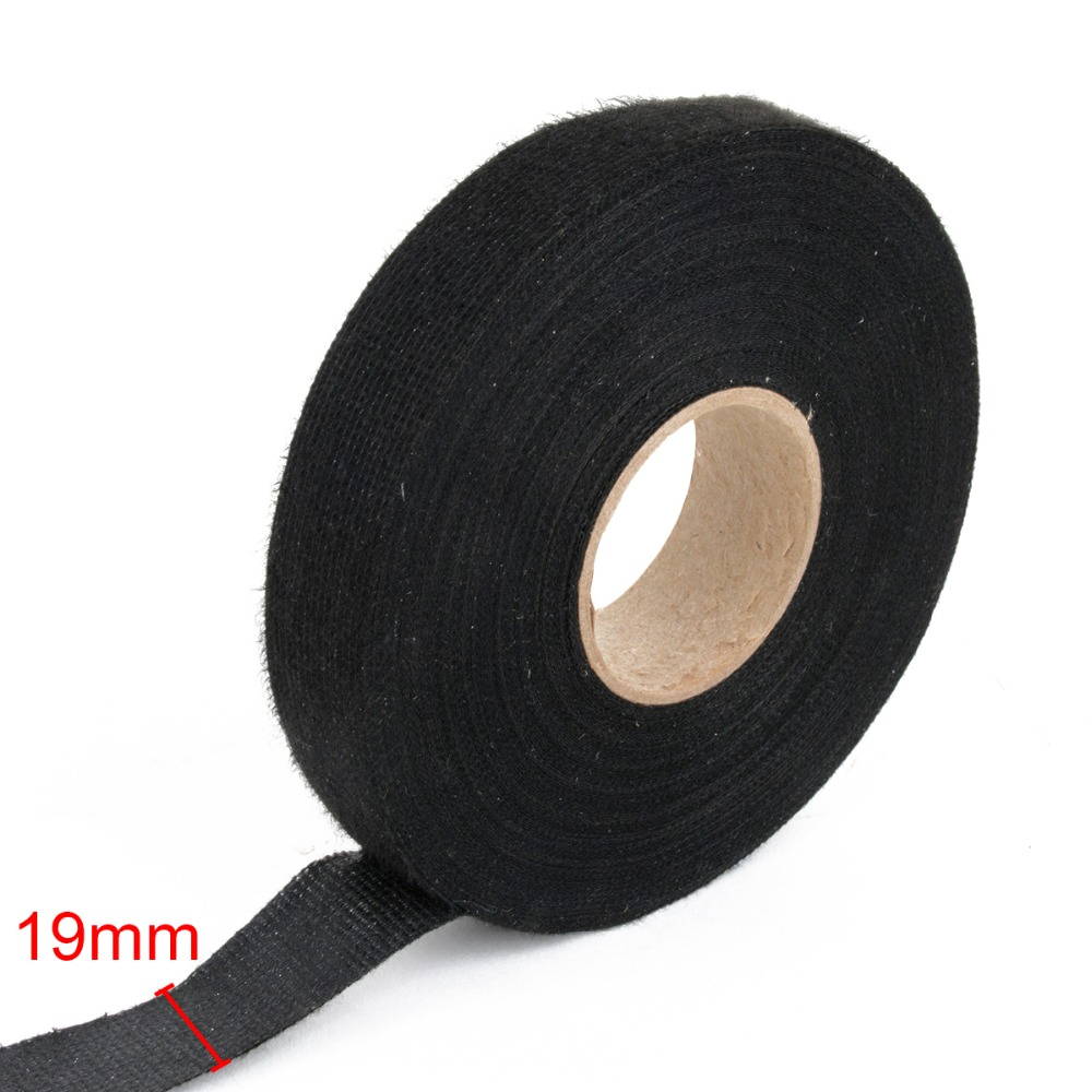 Car Using 10 Rolls 19mm 15m Black Lint Tape For Meter Motor Wire Harness Insulation X Fabric Heat Resistant Wiring Looms Cloth
