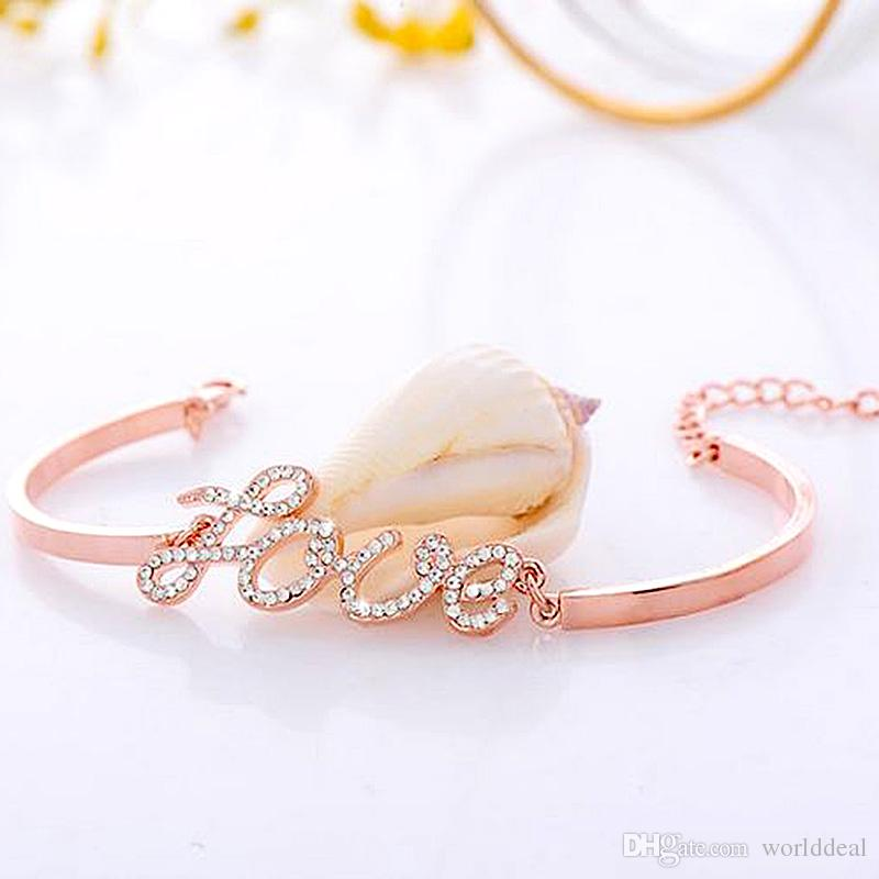 6pcs/lot Gold Infinity Bracelet Charming Rhinestone LOVE Waistband Alloy Crystal Handchains Girls Party Accessories jb212