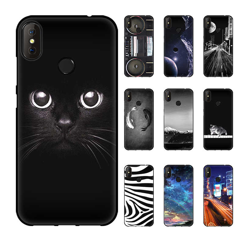 "Jurchen 5.5 ""Soft TPU Case For Doogee X70 Case Cute Kulit Cetak Silicone Phone Cover untuk Doogee X70 X 70 Case Coque Hitam Slot"