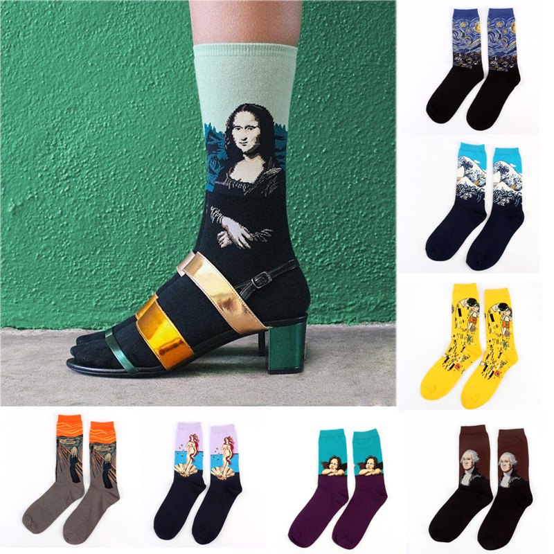 separation shoes 2df50 e093e US $1.58 15% di SCONTO|Caldo Van Gogh Calzini e Calzettoni di Autunno della  Molla del Cotone Delle Donne Pantaloni A Vita Bassa Calzini e Calzettoni ...