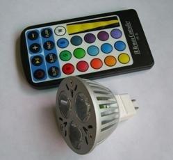 5W RGB LED bulb with IR controller, MR16 base, DC12V input
