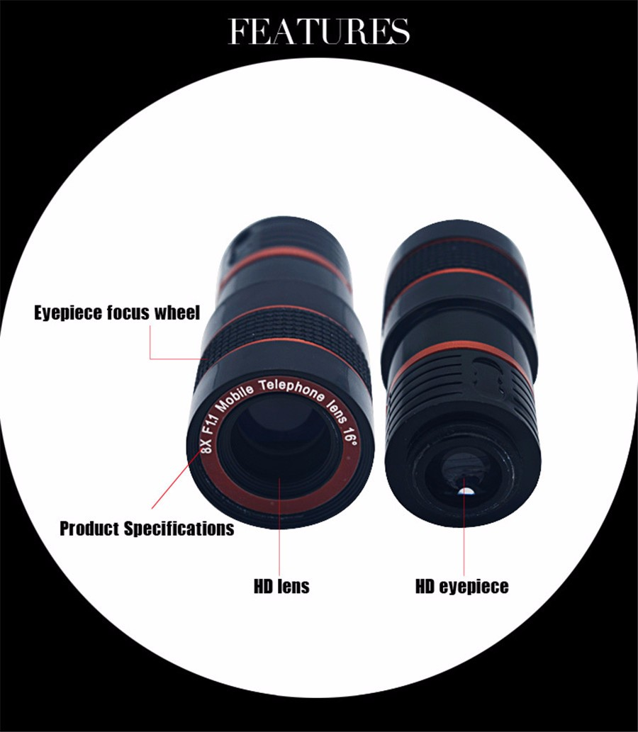 YIFUTE Lenses Universal Clip 8X Zoom Telephoto Lens HD Mobile Phone Camera Lenses For Apple iPhone 5 Samsung Xiaomi Redmi Huawei 10