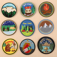 Mountain Trees Camping Parches Ropa Patch Embroidered Patches For Clothing Iron On Close Shoes Bags Badges Embroidery