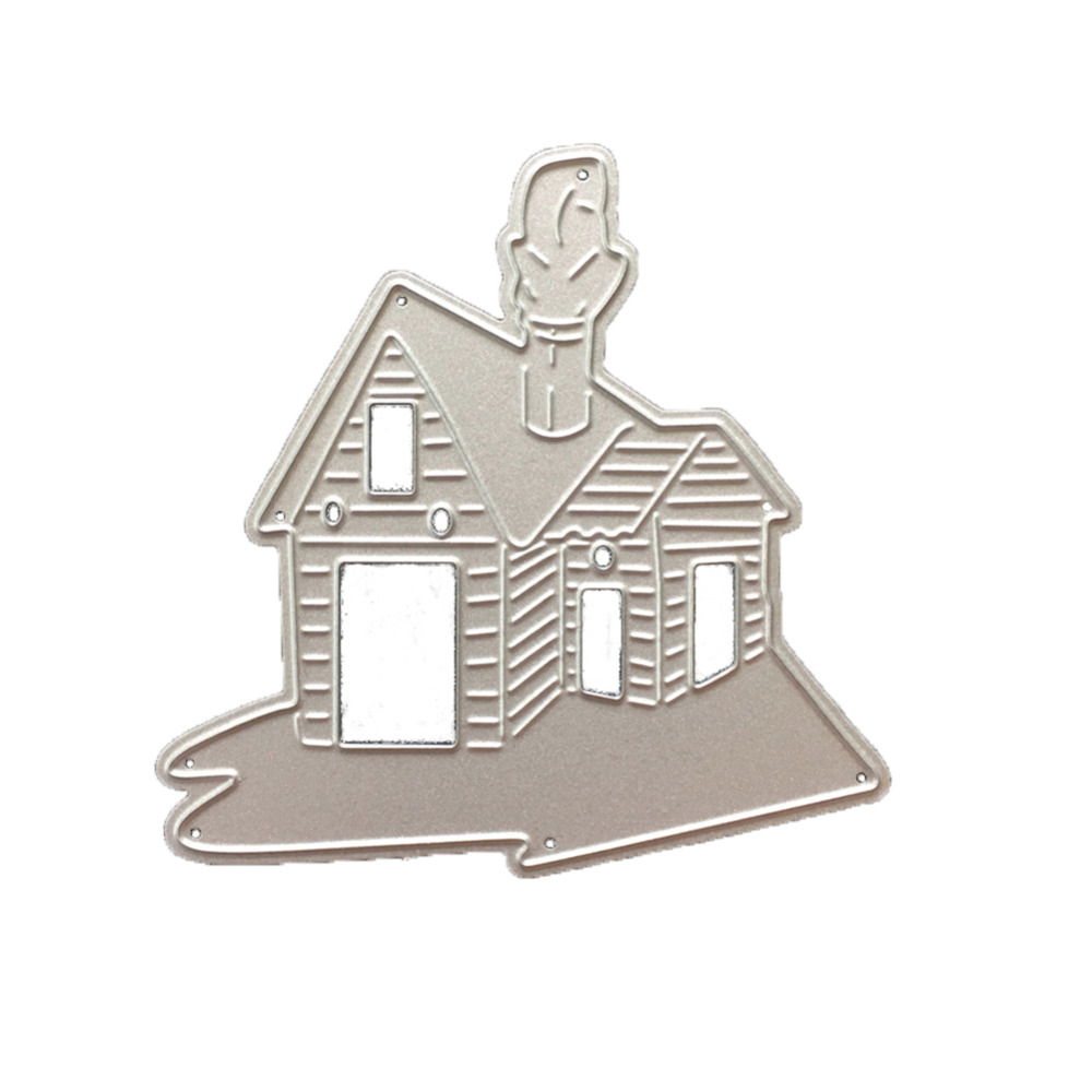 1Pc Hot DIY Metal Cutting Dies Stencils Loverly House with Chimney Pattern Scrapbook Embossing Album Paper Card Craft Decorative