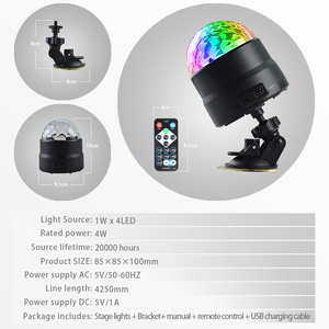 Image 5 - Atotalof USB LED Bar Stage Lighting RGB Mini Disco Ball Light Sound Activated DJ Projector Party Lights for Car Home KTV