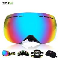 WOSAWE New Snow Goggles Double UV400 Anti Fog Big Sports Airsoft Ski Goggles Biker Sunglasses For