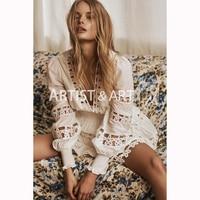 Svoryxiu Sexy V шеи белый мини платье Для женщин элегантный выдалбливают Вышивка отпуск вечерние дизайнерские Брендовые платья женские