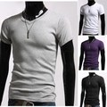 TOP Quality!2014 hot Men clothes t shirt high-elastic cotton men's short sleeve v neck tight shirt male T-shirt b014 3324 38