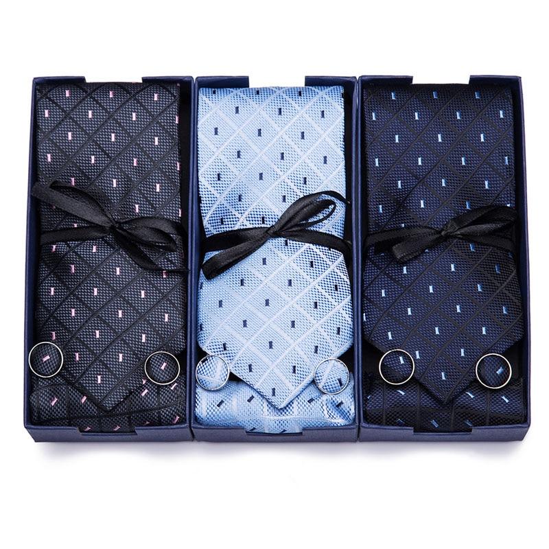 New Plaid Tie For Men Extra Long Size 145cm*7.5cm Necktie Blue Paisley Silk Jacquard Woven Neck Tie Suit Wedding Party Gift Box