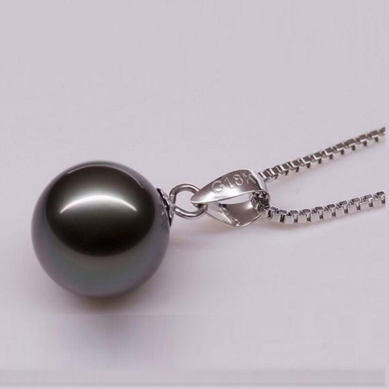 10-11mm véritable collier pendentif perle de tahiti noire naturelle avec chaîne en or massif blanc 14 K et Bail - 3
