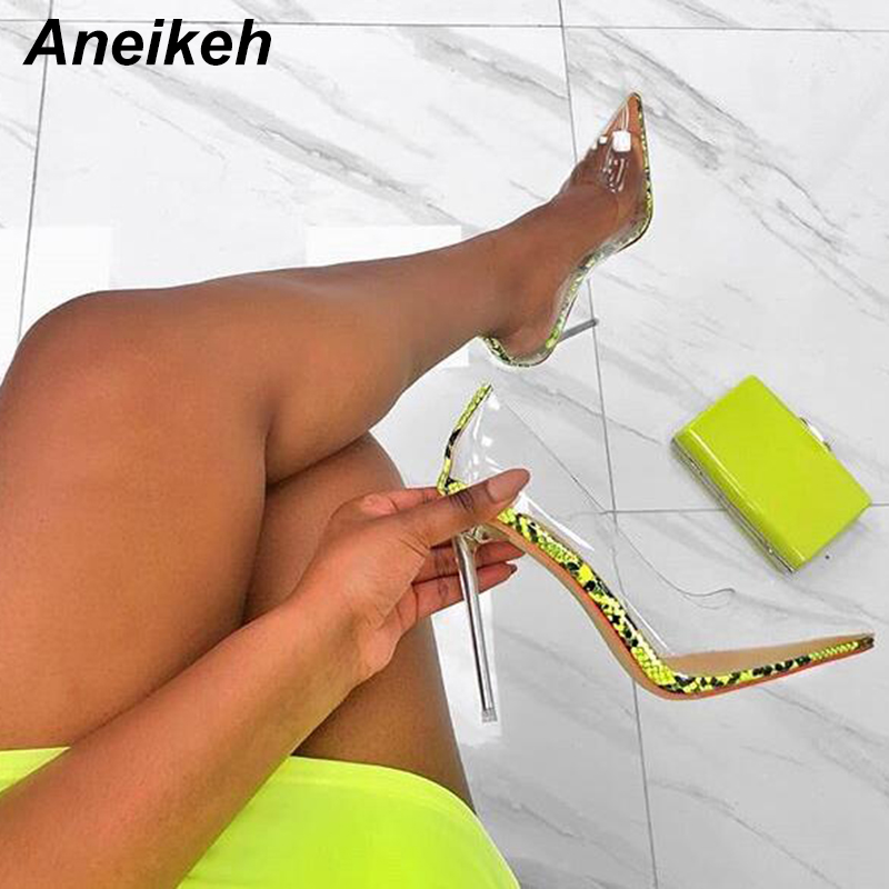 Aneikeh Women PVC Clear Transparent Pumps Sandals Perspex Heel Stilettos High Heels Point Toes Shoes Ladies Party Dress Shoes