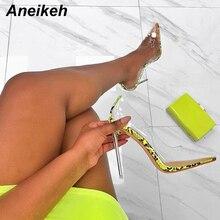 Aneikeh Women PVC Clear Transparent Pumps Sandals Perspex Heel Stilettos High