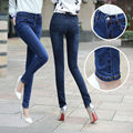 Autumn Winter Fashion Blue Mid Waist Elastic Jeans Women Clothing Brand Plus Size Washed Skinny Casual Denim Pencil Pants