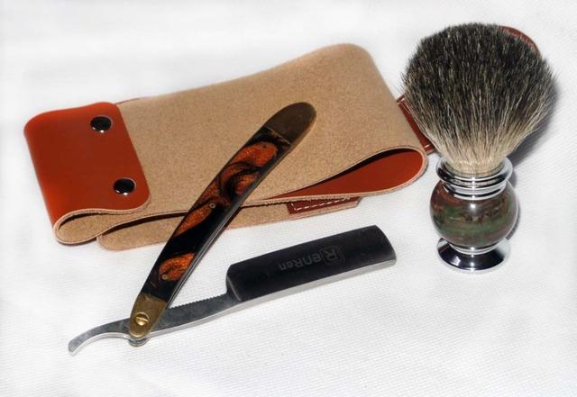 3 Pçs/set Folding Navalha de Barbear Pêlos de Texugo Pincel De Barba e Couro Strop