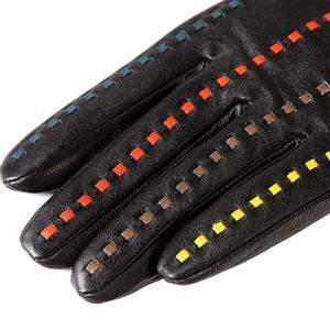 Image 4 - Boutique pour acheter les meilleurs gants féminins, cuir véritable, adulte, coton doublé, élégant gants en cuir noir barre de couleur, gants en cuir