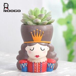 Image 3 - Горшочки для суккулентов ROOGO Щелкунчик в форме цветка, горшочки для суккулентов, Европейский ретро мультяшный персонаж, домашний декор, сад, гостиная, балкон