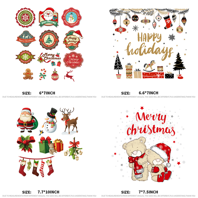 xc 4 pieces patch for kids cloth christmas iron on heat transfers washable patches diy