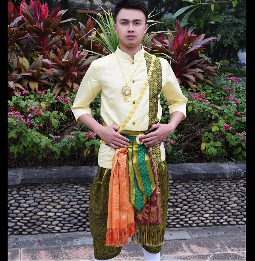 Thai Prince Dai Costume Pictures Movie Studio Retro Tribal Menswear Catwalk Songkran Clothing Mid Sleeve Chinese Minority Men