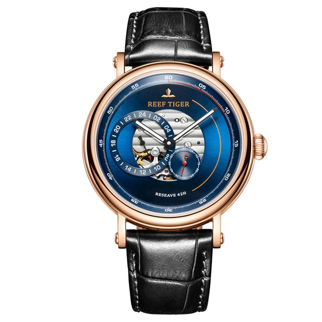 Reef Tiger RGA1617 Fashion Sport Genuine Leather Band Men Waterproof Hollow Out Dial Automatic Mecanical Wrist Watch - RosegoldReef Tiger RGA1617 Fashion Sport Genuine Leather Band Men Waterproof Hollow Out Dial Automatic Mecanical Wrist Watch - Rosegold