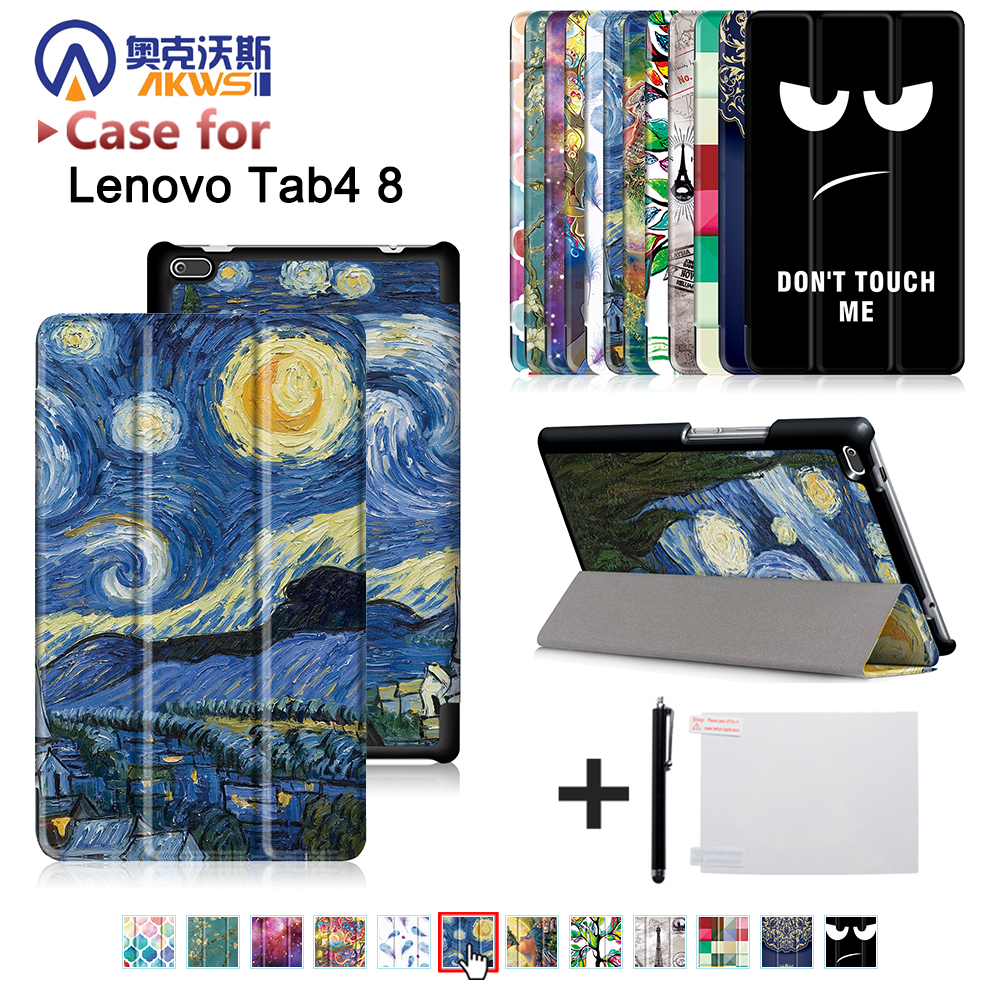 Folio cover case for Lenovo Tab 4 TB-8504F TB-8504N 8 inch Tablet 2017 release with stand PU Leather Protective Case цена