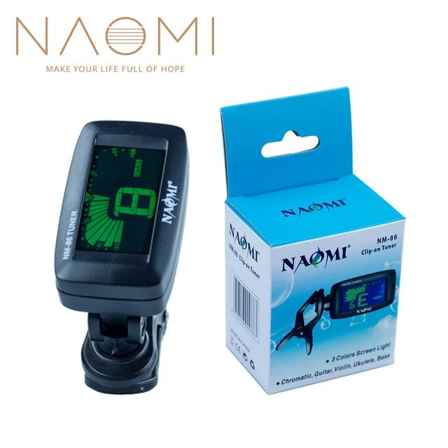 NAOMI NM-86 Sintonizador Digital Clip On Tuner Para Guitarra Baixo Violino Ukulele Chromatic Guitar Parts Acessórios NOVO