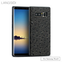 LANGSIDI Brand Phone Case Ostrich Grain Full Wrapped Phone Case For Samsung Note8 Phone Case All
