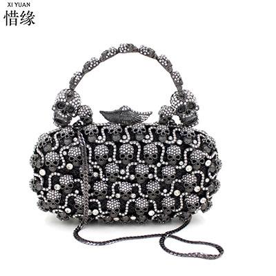 XIYUAN BRAND women 2017 luxury full diamond  Skull evening dinner shoulder bag female clutch wallets famous brand hand bags gift
