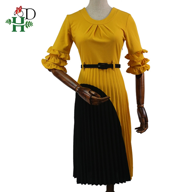 H amp D 2019 summer dress for women plus size office lady dresses vintage dress with belt turkey dress women wears african clothes in Dresses from Women 39 s Clothing