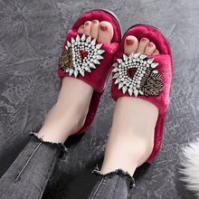 Fur Slipper Crystal Winter Women Soft Cotton Home Indoor Slippers Ladies Slip on Shoes Fashion Platform Casual House