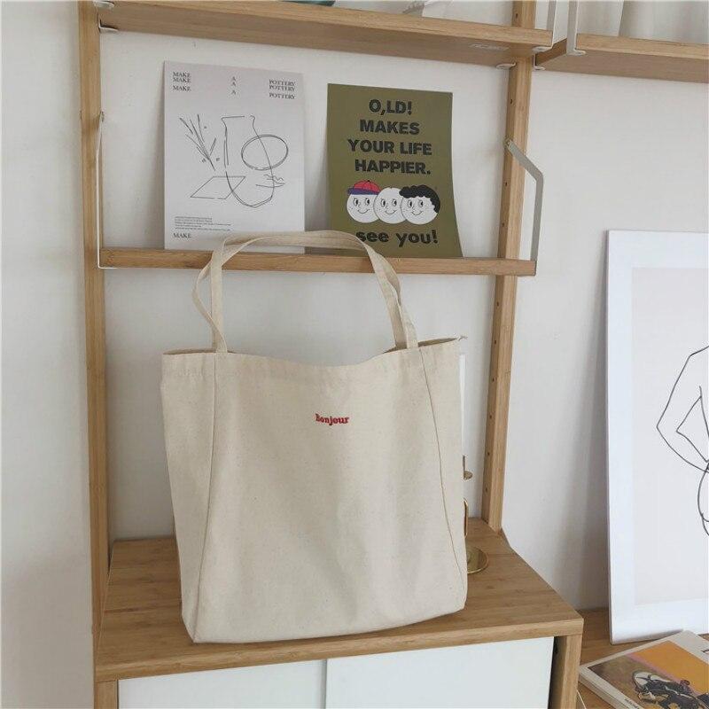 Canvas Bag High Quality Reusable Shopping Bag Simple Casual Daily Use Handbag Shoulder Bags