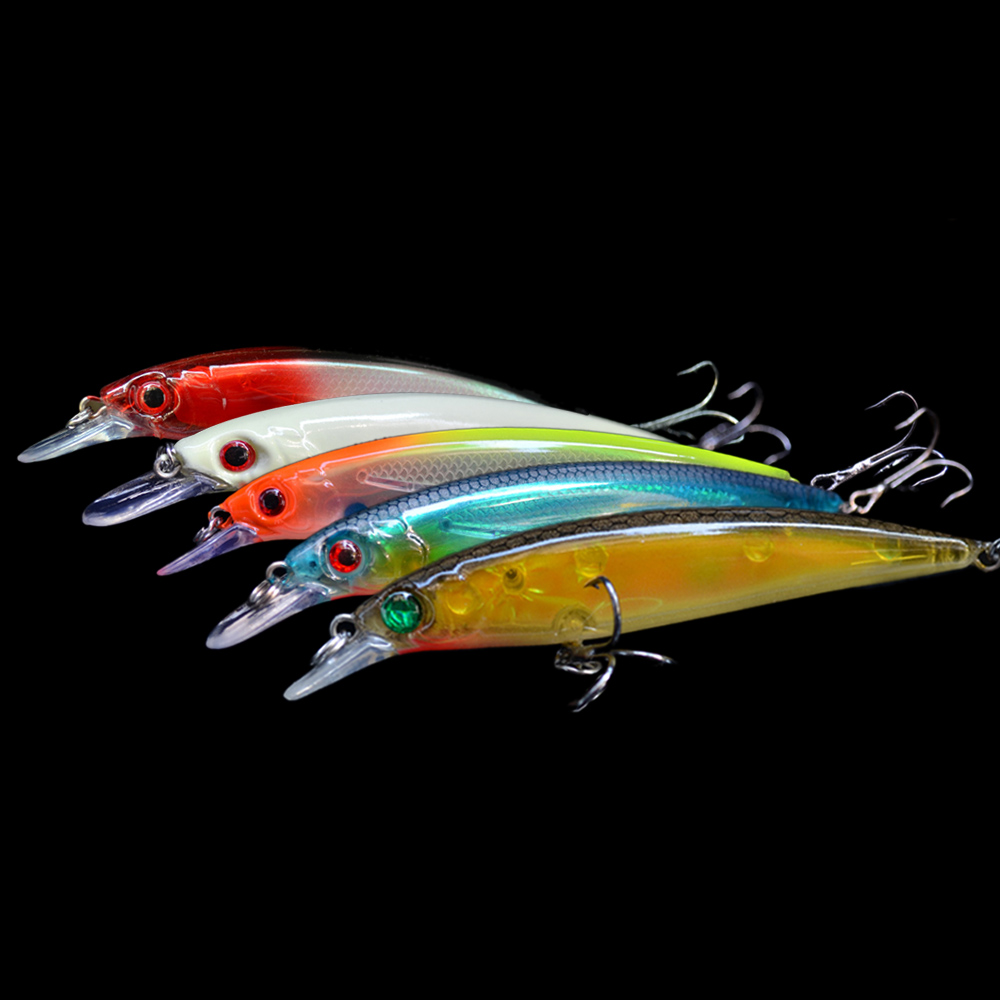 1pc 14g 11cm fishhooks plastic minnow fishing hard lure 3d for Fish and tackle
