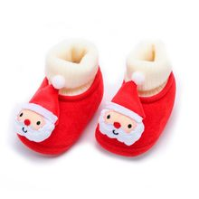 Newborn Toddler shoes baby shoes Christmas Deer Cartoon Warm Soft Sole Boot Casual shoes baby walker booties baby socks winter(China)