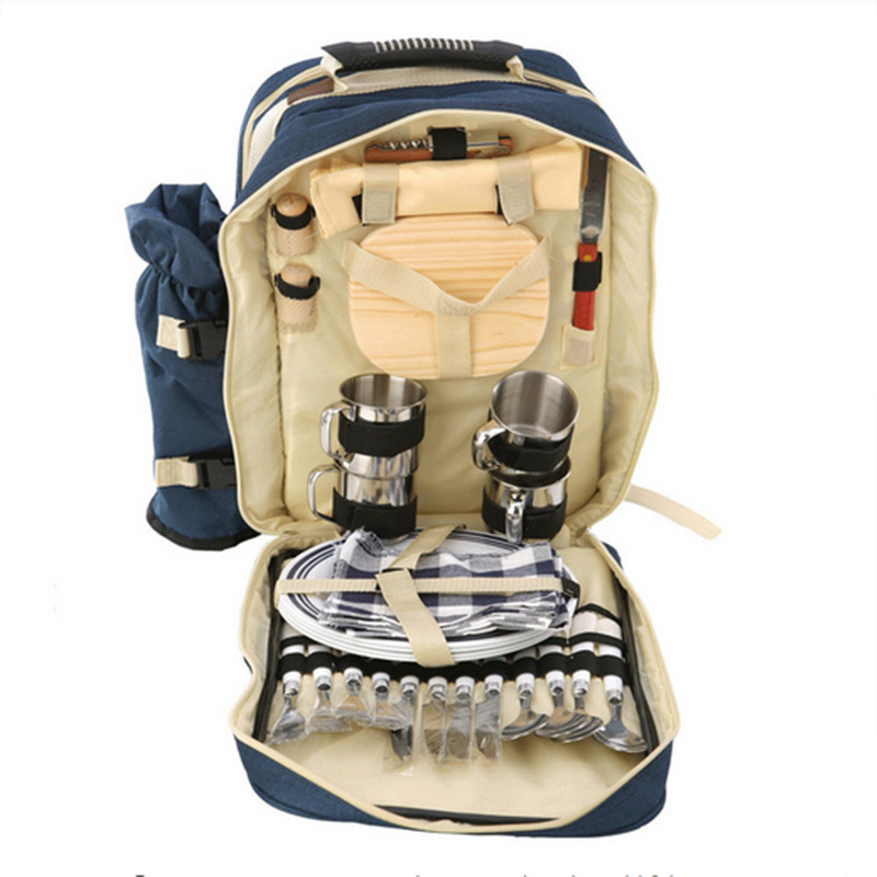 Picnic Bag Outdoor Travel Set Portable Camping Backpack With Tableware Cooler Bag Dinnerware 4 Person