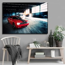 1 Pieces Canvas Painting Decorative Workshop Wall Art Vehicle Painting Modern HD Print Red Dodge Challenger SRT Picture Artwork стоимость