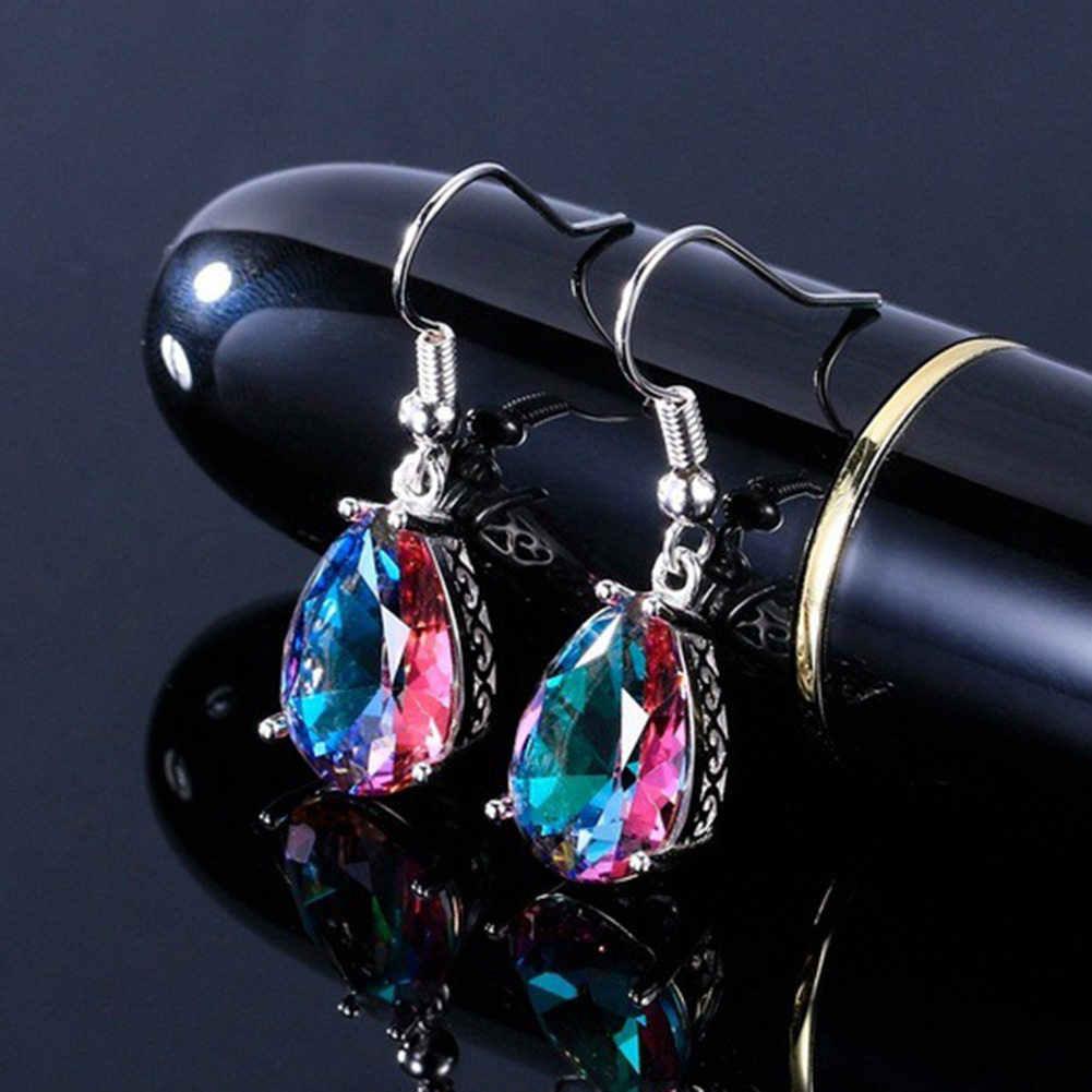 Милые длинные серьги в форме слезы для женщин груша блестящая огранка серебряный цвет свадебные украшения длинные водные длинные серьги-подвески