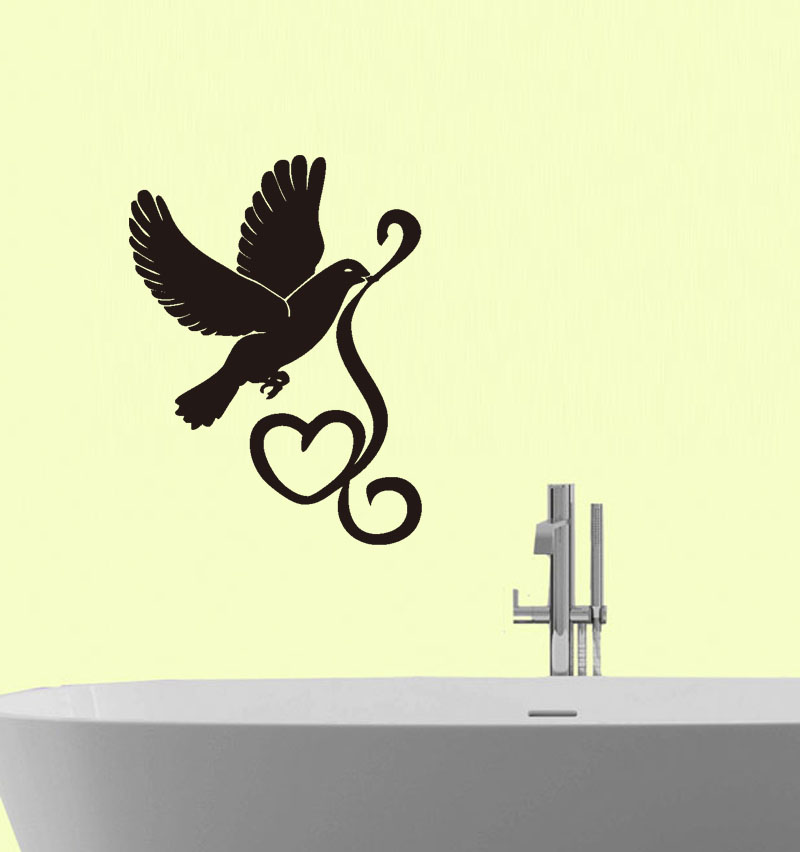 Removable Dove And Heart Wall Sticker Love Meaning Wall Decals Home ...