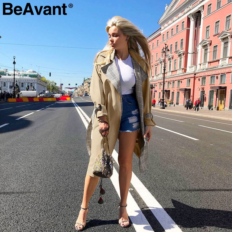 BeAvant Turn down collar women   trench   coat Vintage plaid sashes autumn winter long outwear Belt pockets office ladies overcoats