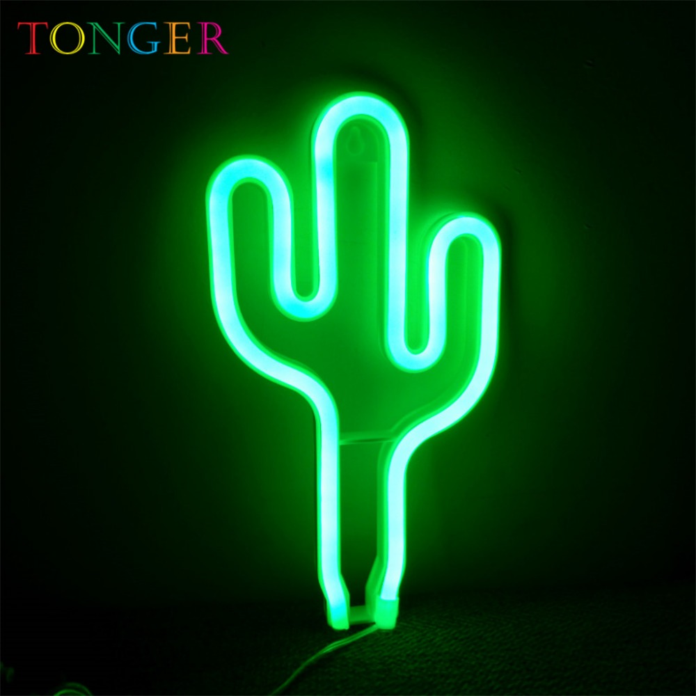 Tonger Home Decor Cactus Led Art Neon Sign Board Wall Decoration