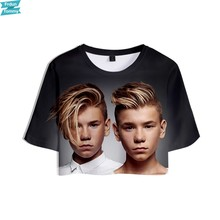 MARCUS & MARTINUS 3D Gedrukt Vrouwen Kpop Crop Tops Fashion Zomer Korte Mouw T-shirts 2019 Hot Koop Casual Streetwear T shirts(China)