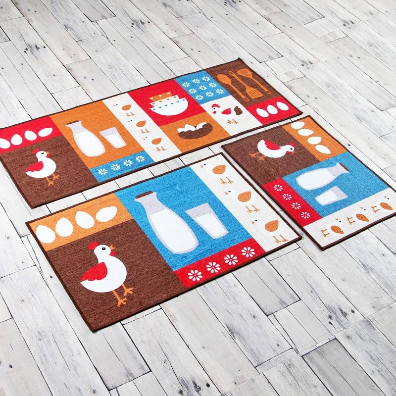 주방 직사각형 슬립 매트 간단한 패션 만화 품질 폴리 에스테르 카펫 먼지 방지 내구성 현관 침실 베이 창 매트