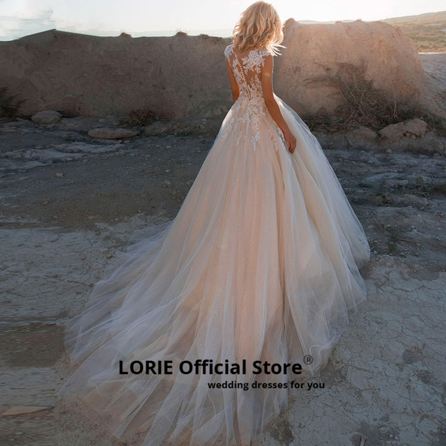 LORIE 2019 Scoop Lace Applique A Line Wedding Dresses Sleeveless Tulle Boho Bridal Gown vestido de noiva Long Train trouwkleed 2