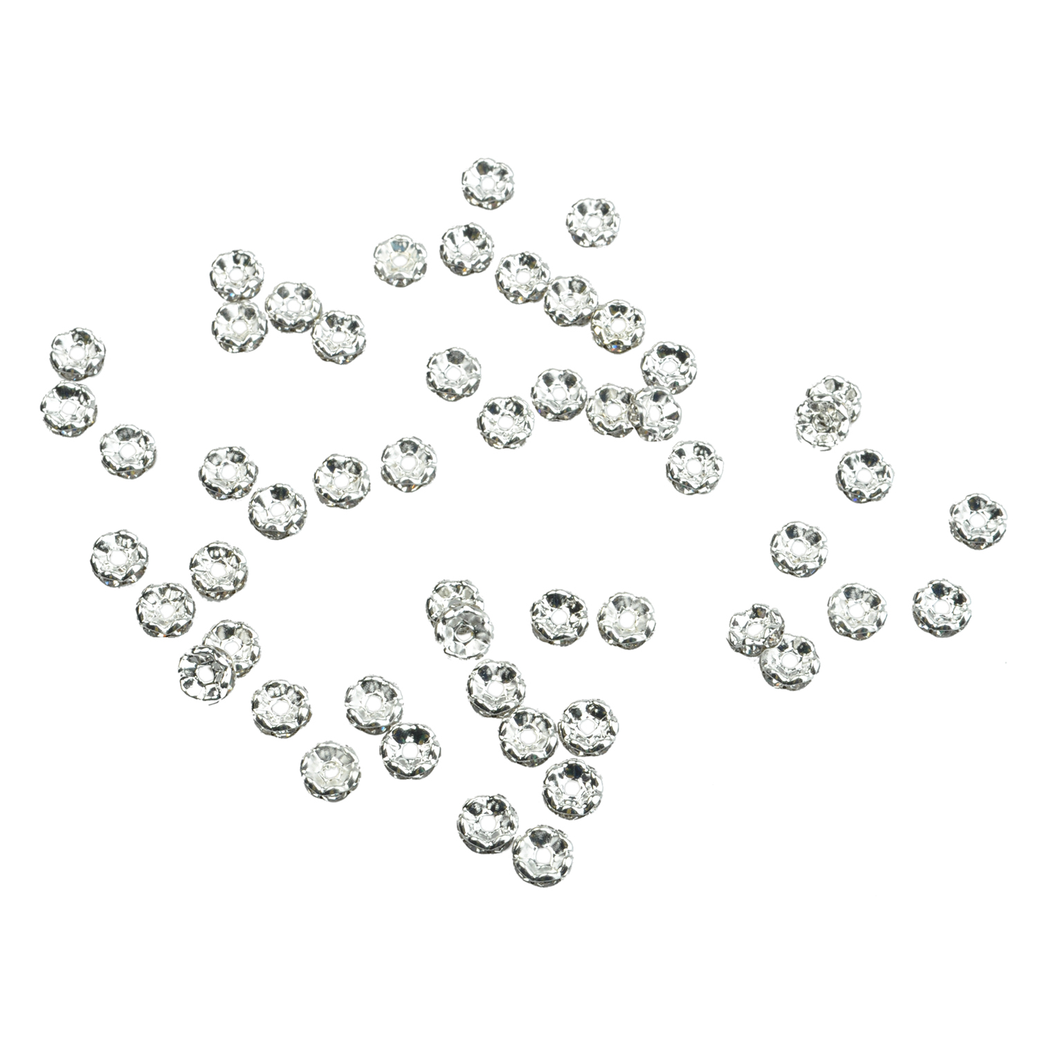 50pcs 6mm Silver Flower Rhinestone Rondelle Bead Spacer