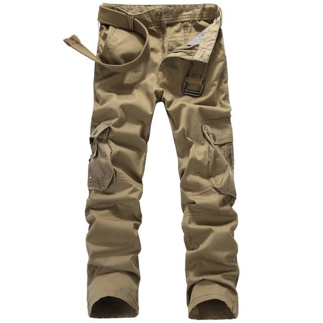 2016 de alta calidad de los hombres pantalones de carga multi-bolsillo ocasional militar del ejército verde camuflaje hombres pant pantalón 100% algodón puro (sin la correa)