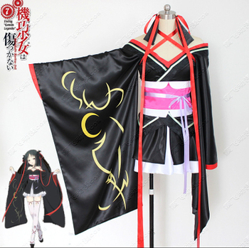 Anime Unbreakable Machine-Doll Yaya Black Kimono Halloween Cosplay Costume Full Set 4 in 1 dress+waistband+bowknot+ribbon