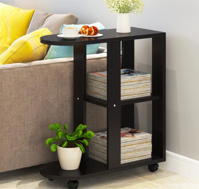 60x30x66CM Bedside Table Modern Sofa Side Table Living Room Storage Cabinet With Wheels