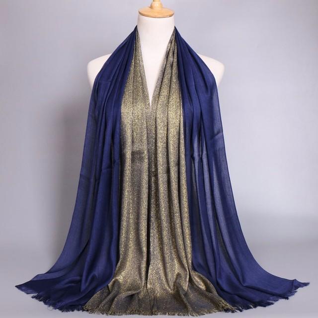 Gold islamic muslim  scarrf  hijab jersey hijabs printe glitter cotton scarf