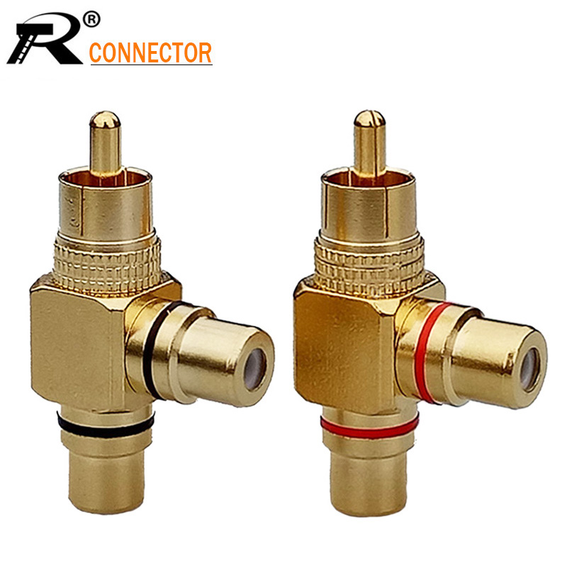 2pcs/1pair High Quality Gold Plated RCA Male To 2 Female RCA Splitter Adapter AV Video Audio T Plug RCA 3 Way Plug R Connector