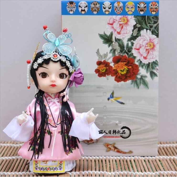 Маленькая кукла ручной работы, q-версия, кукла Пекинская опера, подарки на вкус, украшение для дома, народные ремесла, заводской подарок для друзей, китайский