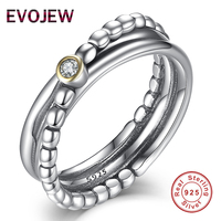 Genuine 100 925 Sterling Silver Beads Stackable And Sparkling Clear CZ Wedding Rings For Women Fashion