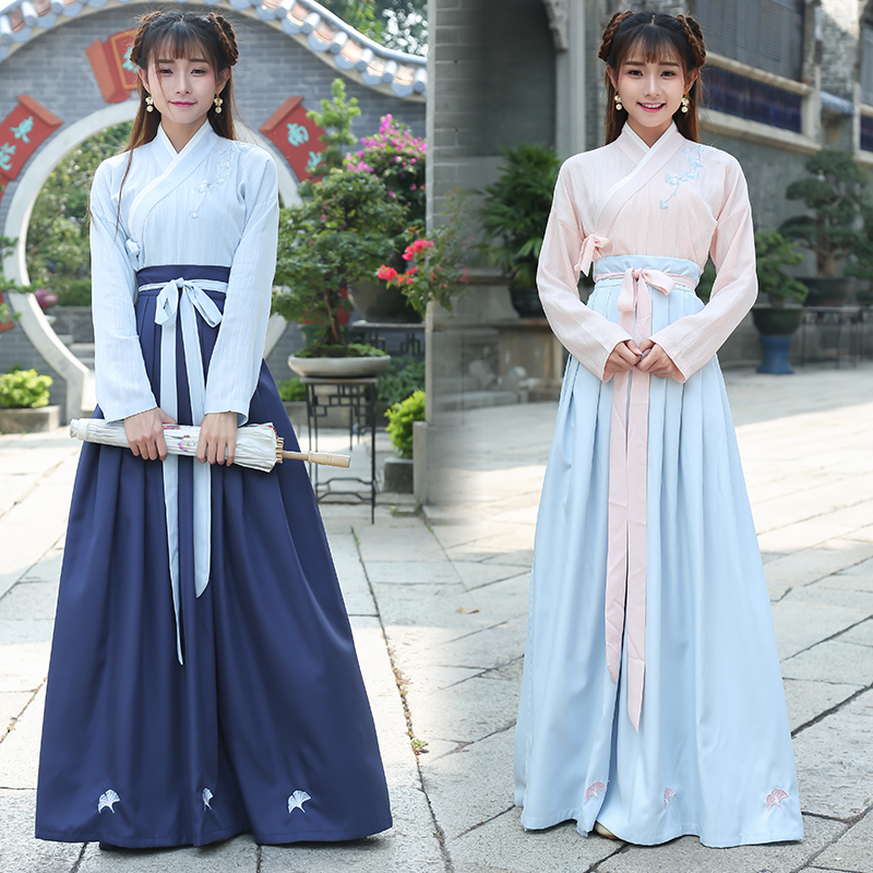 Costume de Cosplay traditionnel chinois Hanfu ancienne dynastie Han Stduent scène spectacle robe tenue de danse folklorique chinoise dynastie Tang